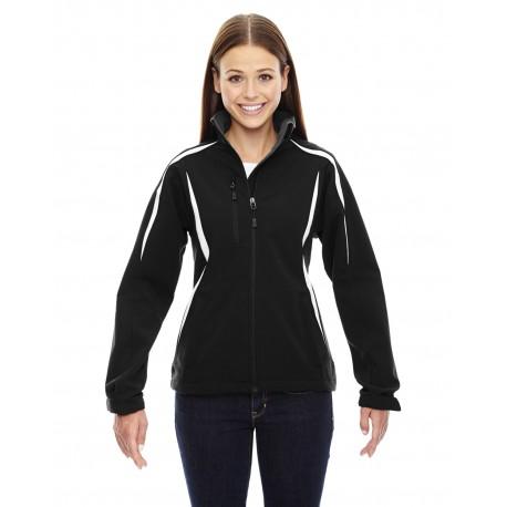 78650 North End 78650 Ladies' Enzo Colorblocked Three-Layer Fleece Bonded Soft Shell Jacket BLACK 703