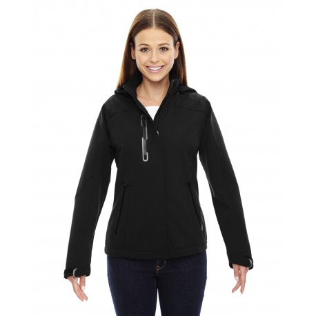 78665 North End 78665 Ladies' Axis Soft Shell Jacket with Print Graphic Accents BLACK 703