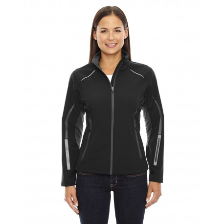 78678 North End 78678 Ladies' Pursuit Three-Layer Light Bonded Hybrid Soft Shell Jacket with Laser Perforation BLACK 703