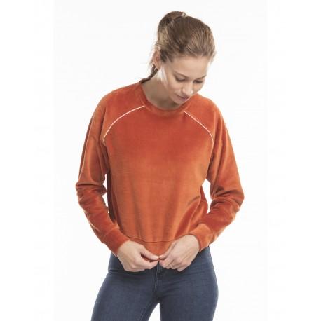 US538 US Blanks US538 Ladies' Velour Long Sleeve Crop T-Shirt RUST