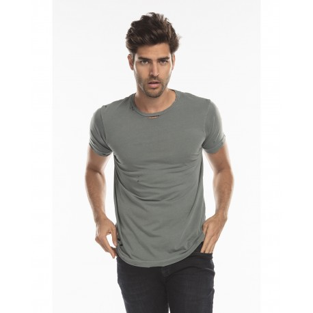 US5524G US Blanks US5524G Unisex Pigment-Dyed Destroyed T-Shirt PGMNT HEDGE GREN