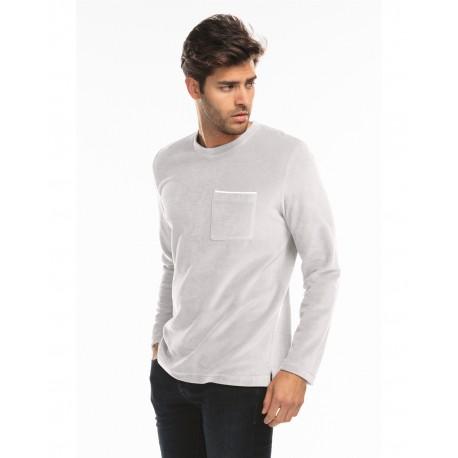 US5594 US Blanks US5594 Unisex Velour Long Sleeve Pocket T-Shirt SILVER