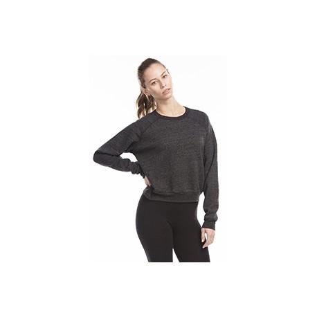 US838 US Blanks US838 Ladies' Sponge Fleece Crop Top TRI BLACK