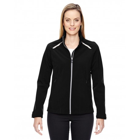 78693 North End 78693 Ladies' Excursion Soft Shell Jacket with Laser Stitch Accents BLACK 703