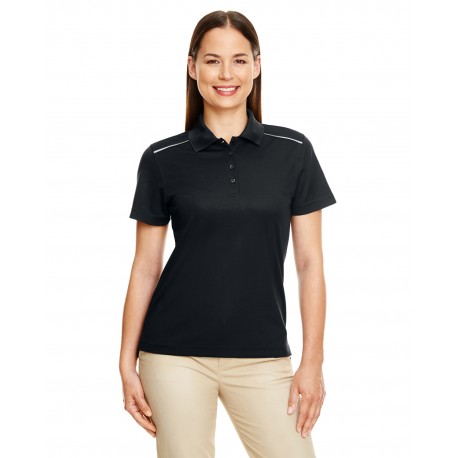 78181R Core 365 78181R Ladies' Radiant Performance Pique Polo with Reflective Piping BLACK 703