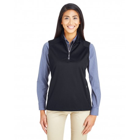 CE709W Core 365 CE709W Ladies' Techno Lite Three-Layer Knit Tech-Shell Quarter-Zip Vest BLACK 703