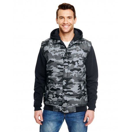 B8701 Burnside B8701 Adult Fleece Sleeeved Puffer Vest BLACK CAMO/BLAC