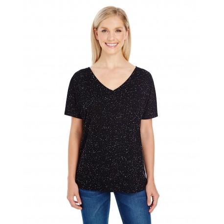 203FV Threadfast Apparel 203FV Ladies' Triblend Fleck Short-Sleeve V-Neck T-Shirt BLACK FLECK