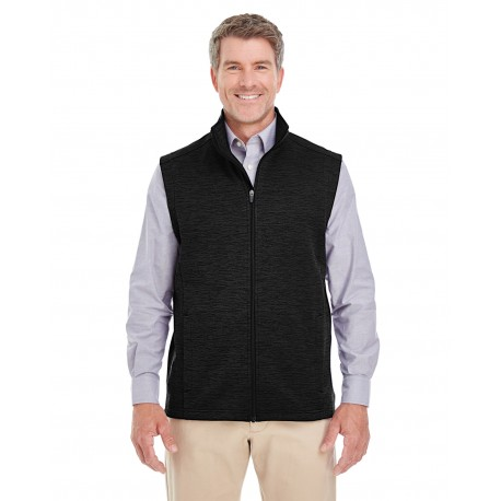 DG797 Devon & Jones DG797 Men's Newbury Melange Fleece Vest BLACK HEATHER