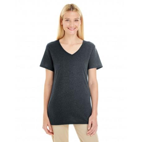 601WVR Jerzees 601WVR Ladies' 4.5 oz. TRI-BLEND V-Neck T-Shirt BLACK HEATHER