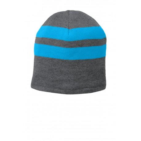 C922 Port & Company C922 Fleece-Lined Striped Beanie Cap Athletic Oxford/Neon Blue