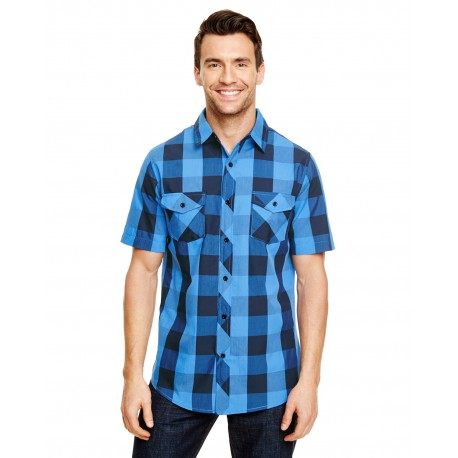 B9203 Burnside B9203 Mens Buffalo Plaid Woven Shirt BLACK/BLUE