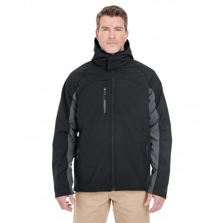 8290 UltraClub 8290 Adult Colorblock 3-in-1 Systems Hooded Soft Shell Jacket BLACK/CHARCOAL