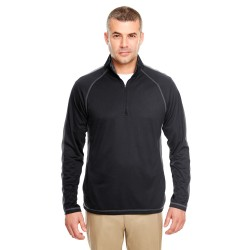 UltraClub 8398 Adult Cool & Dry Sport Quarter-Zip Pullover with Side and Sleeve Panels