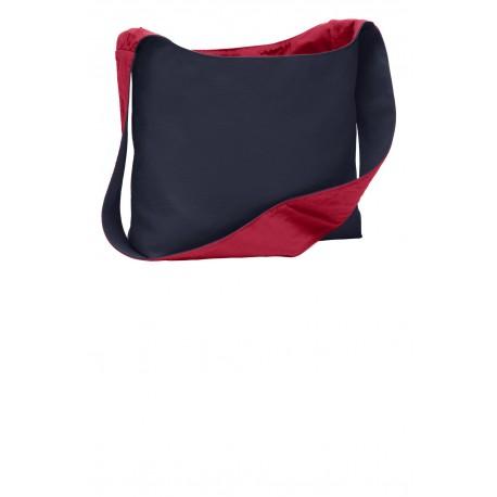 BG405 Port Authority BG405 Cotton Canvas Sling Bag Navy/Chili Red