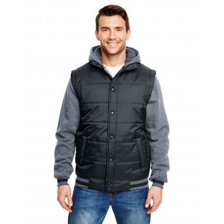 B8701 Burnside B8701 Adult Fleece Sleeeved Puffer Vest BLACK/CHARCOAL