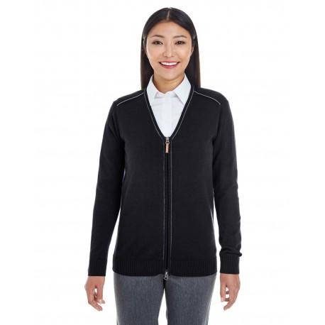 DG478W Devon & Jones DG478W Ladies' Manchester Fully-Fashioned Full-Zip Sweater BLACK/GRAPHITE