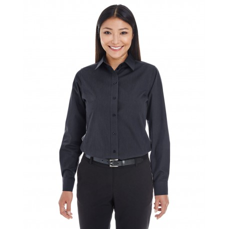 DG534W Devon & Jones DG534W Ladies' Crown Woven Collection Striped Shirt BLACK/GRAPHITE