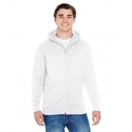 JA8668 J America JA8668 Adult Glow Full-Zip Hood BLACK/ICE BLUE