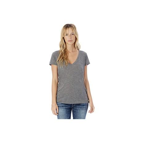 2894B2 Alternative 2894B2 Ladies' Melange Burnout Slinky V-Neck T-Shirt ASH HEATHER