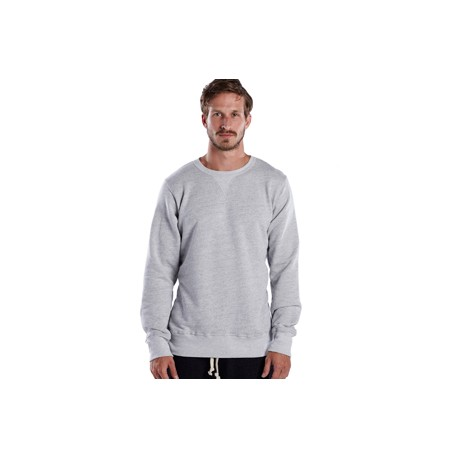 US8000 US Blanks US8000 Men's Long-Sleeve Pullover Crew ASH HEATHER GREY