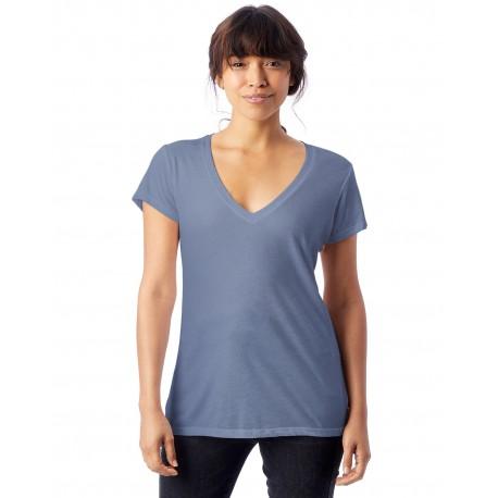2894B2 Alternative 2894B2 Ladies' Melange Burnout Slinky V-Neck T-Shirt STONEWASH BLUE