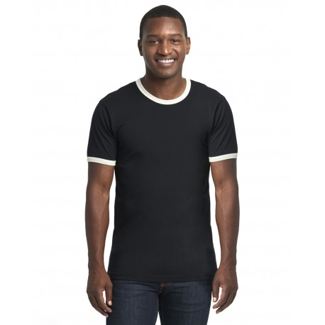 3604 Next Level 3604 Unisex Ringer T-Shirt BLACK/ NATURAL