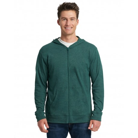 6491 Next Level 6491 Adult Sueded Full-Zip Hoody HTHR FOREST GRN