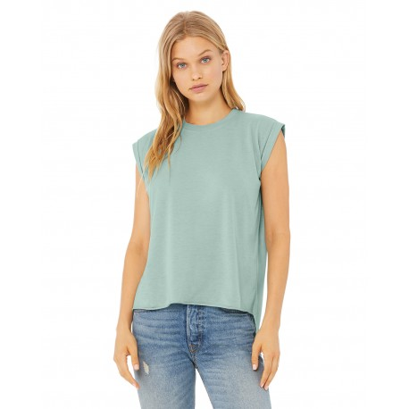 8804 Bella + Canvas 8804 Ladies' Flowy Muscle T-Shirt with Rolled Cuff DUSTY BLUE