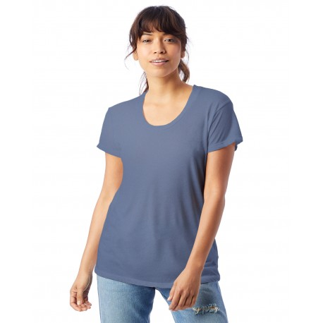 AA2620 Alternative AA2620 Ladies' Kimber Melange Burnout T-Shirt STONEWASH BLUE