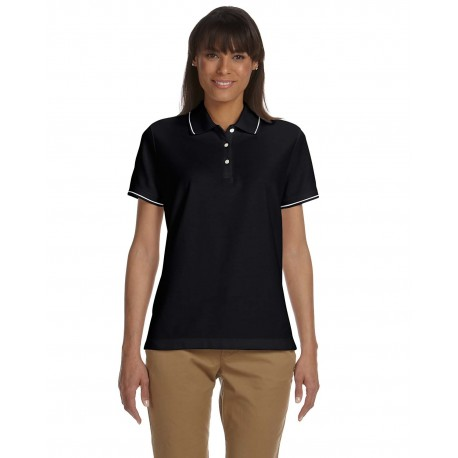 D113W Devon & Jones D113W Ladies' Pima Pique Short-Sleeve Tipped Polo BLACK/WHITE
