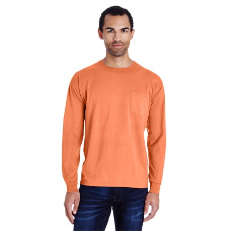 GDH250 ComfortWash by Hanes GDH250 Unisex 5.5 oz., 100% Ringspun Cotton Garment-Dyed Long-Sleeve T-Shirt with Pocket HORIZON ORANGE