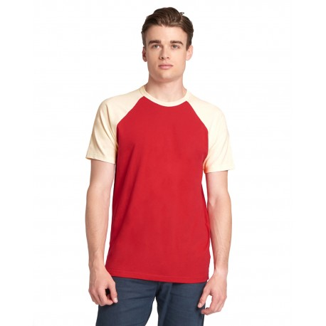 N3650 Next Level N3650 Unisex Raglan Short-Sleeve T-Shirt NATURAL/ RED