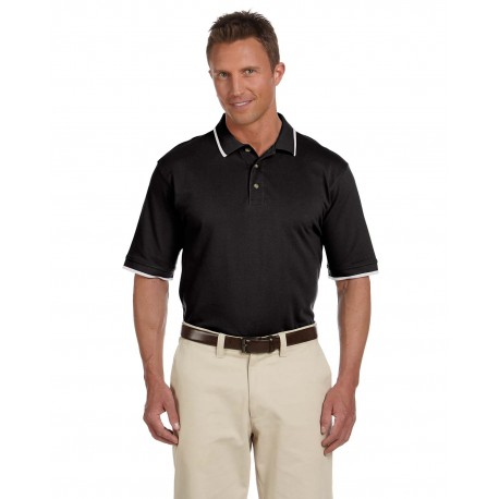 M210 Harriton M210 Adult 6 oz. Short-Sleeve Pique Polo with Tipping BLACK/WHITE