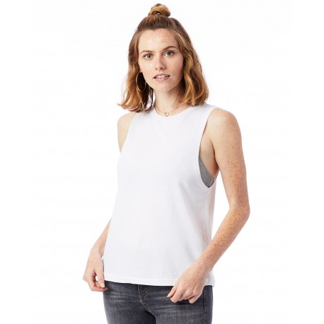 1016CG Alternative 1016CG Ladies Heavy Wash Muscle Tank WHITE