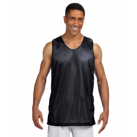NF1270 A4 NF1270 Men's Reversible Mesh Tank BLACK/WHITE