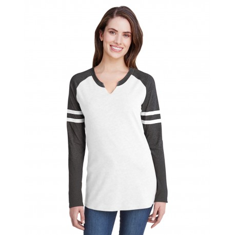 3534 LAT 3534 Ladies Gameday Mash-Up Long-Sleeve Fine Jersey T-Shirt B WH/ V SM/ B WH