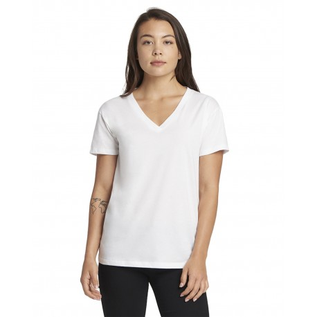 3940 Next Level 3940 Ladies Relaxed V-Neck T-Shirt WHITE