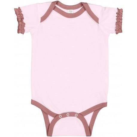 4429 Rabbit Skins 4429 Infant Ruffle Fine Jersey Bodysuit BLRNA/ MAUVELOUS