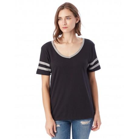 5058BP Alternative 5058BP Ladies Varisty T-Shirt BLACK/ SMKE GRY