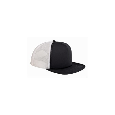BX030 Big Accessories BX030 5-Panel Foam Front Trucker Cap BLACK/WHITE