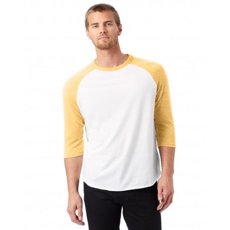 5127BP Alternative 5127BP Mens Vintage Baseball T-Shirt WHITE/ MAIZE
