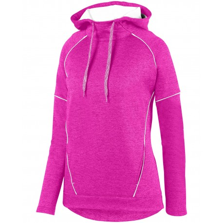 5556 Augusta Sportswear 5556 Ladies Zoe Tonal Heather Hoodie POWER PINK/ WHT