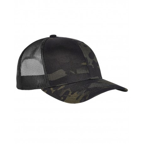 6006MC Yupoong 6006MC Classics Adult 5-Panel Multicam Trucker Cap BLACK MULTICAM