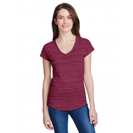 675VIDL Anvil 675VIDL Ladies Streak V-Neck T-Shirt ID MAROON