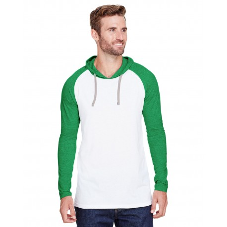 6917 LAT 6917 Mens Hooded Raglan Long-Sleeve Fine Jersey T-Shirt B WH/ VN GR/ TTN