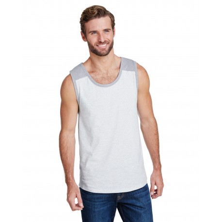 6919 LAT 6919 Mens Contrast Back Fine Jersey Tank Top ASH/ HEATHER