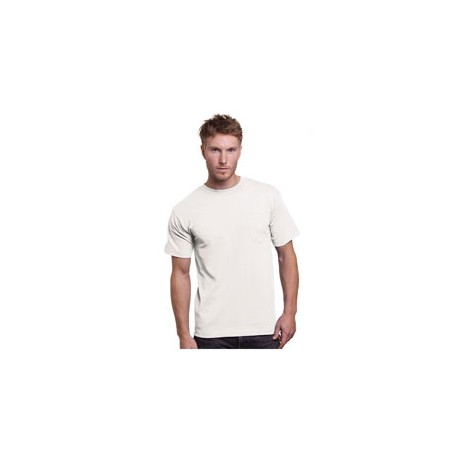 BA3015 Bayside BA3015 Adult 6.1 oz Cotton Pocket T-Shirt WHITE