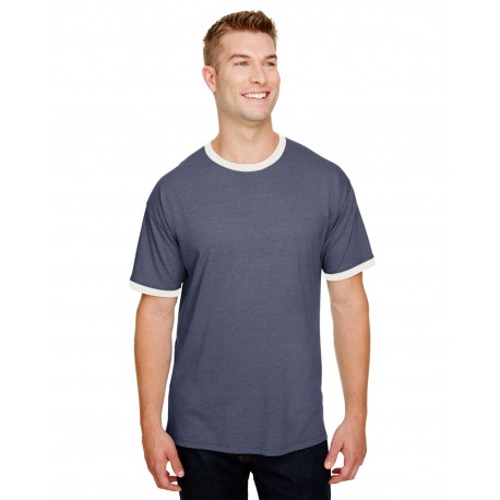 CP65 Champion CP65 Adult Triblend Ringer T-Shirt NAVY HTH/ CHK WH