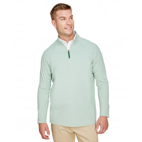DG480 Devon & Jones DG480 CrownLux Performance Mens Clubhouse Micro-Stripe Quarter-Zip KELLY GREEN
